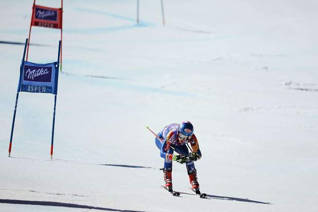 US skier Mikaela Shiffrin on her second run for the women's GS race on Sunday on Aspen Mountain. Shiffrin walked away second in that race but claimed the overall season title crystal globe award.