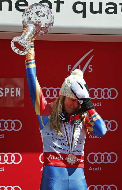 World Cup overall women's 2017 champion United States' Mikaela Shiffrin reacts as she holds up a crystal globe trophy after a World Cup skiing race Sunday, March 19, 2017, in Aspen, Colo. (AP Photo/Nathan Bilow)