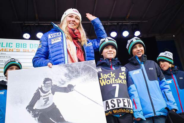 Mikaela Shiffrin pulled number 7 at the bib draw for women's slalom in the World Cup Village in Wagner Park on Friday evening.