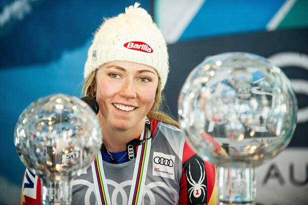 US skier Mikaela Shiffrin at the press conference after accepting the overall crystal globe award on Sunday on Aspen Mountain.