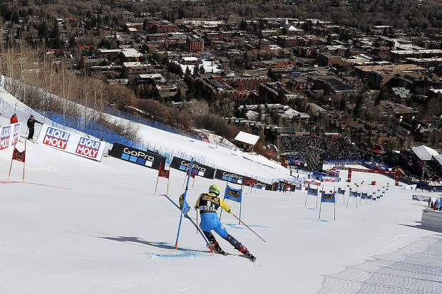 Sweden's Mattias Hargin skis during a run at a World Cup team event ski race Friday, March 17, 2017, in Aspen, Colo. (AP Photo/Nathan Bilow)