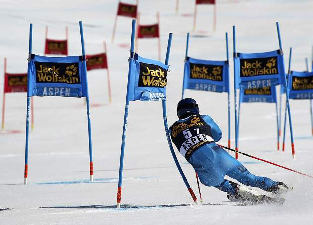 Norway's Jonathan Nordbotten skis during a run at a World Cup team event ski race Friday, March 17, 2017, in Aspen, Colo. (AP Photo/Nathan Bilow)