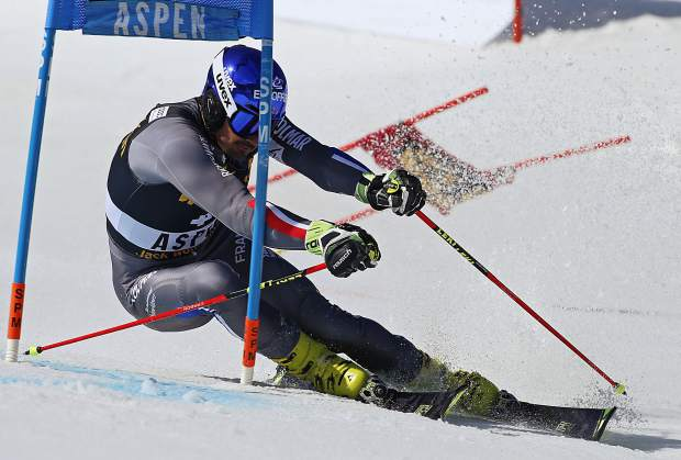 France's Jean-Baptiste Grange skis during a run at a World Cup team event ski race Friday, March 17, 2017, in Aspen, Colo. (AP Photo/Nathan Bilow)