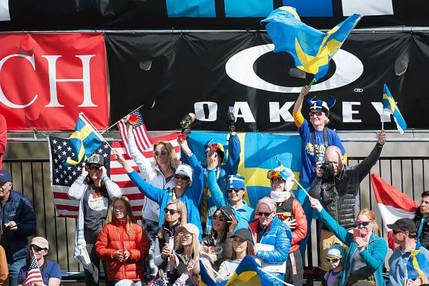 Swedish fans at the FIS World Cup Alpine team event on Aspen Mountain on Friday.