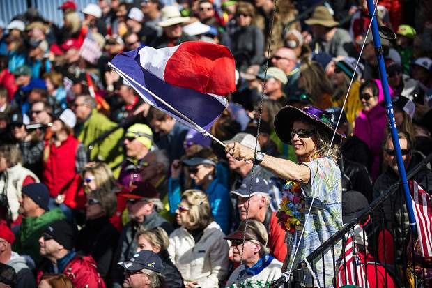 French fans at the FIS World Cup Alpine team event on Aspen Mountain on Friday.