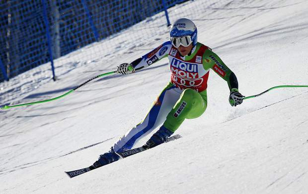 Slovenia's Ilka Stuhec skis during a run at the women's World Cup super-G ski race Thursday, March 16, 2017, in Aspen, Colo. (AP Photo/Nathan Bilow)