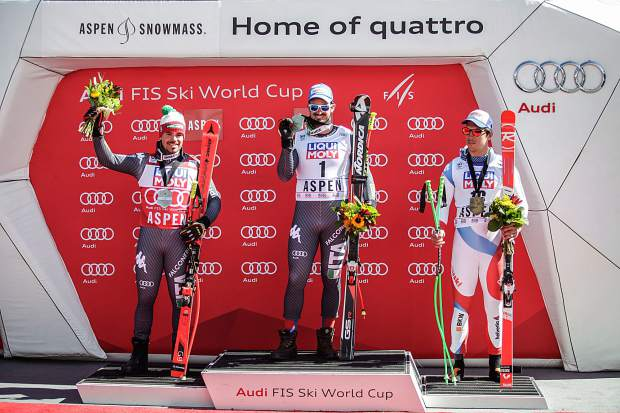 Winners of the men's downhill for the FIS World Cup Finals on Wednesday in Aspen. From left, second-place finisher Peter Fill of Italy, first-place finisher Italy's Dominik Paris and third-place finisher Carlo Janka of Switzerland.