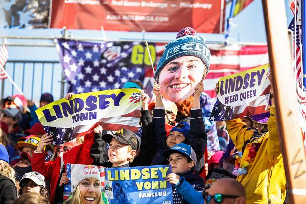 The crowd was hyped for U.S. ski racer and Colorado local Lindsey Vonn in the Women's Downhill during the FIS World Cup Finals on Wednesday in Aspen.