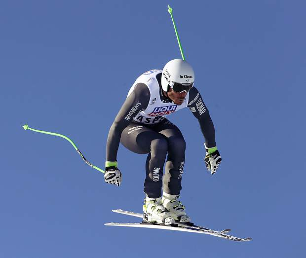 France's Johan Clarey skis during a run at the men's World Cup downhill ski race Wednesday in Aspen.