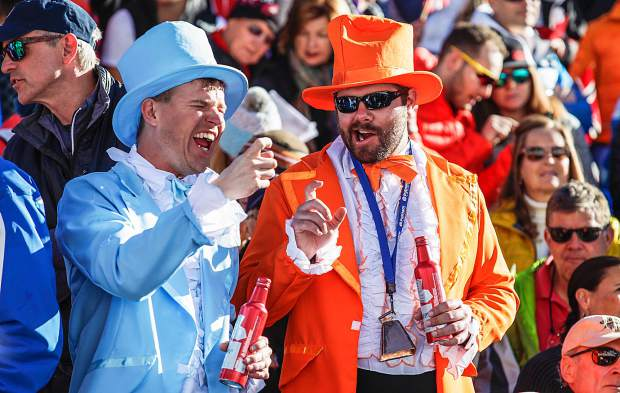 Eric Wilson, left, of Boulder, and Brandon Wargo of Fort Collins dressed as characters from the movie Dumb and Dumber during the FIS World Cups in Aspen.