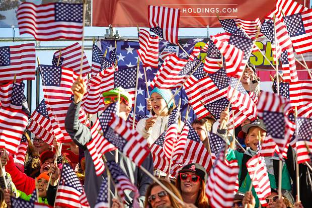The crowd goes wild for U.S. skiers for the FIS World Cup Finals on Wednesday in Aspen. The grandstands were packed for a sunny day in Aspen.