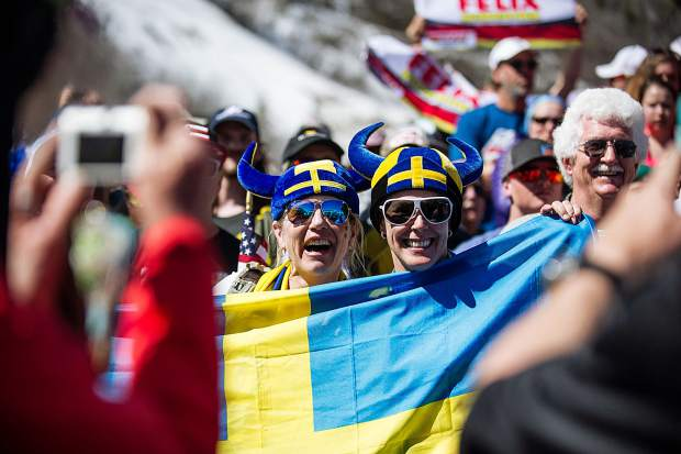 Swedish fans pose for a photo after the men's and women's World Cup GS finals on Sunday.