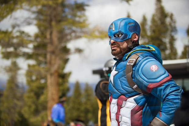 Captain America strikes a pose at Aspen Highlands' closing day on Sunday.