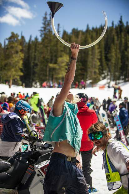 Beer bongs were raised at Aspen Highlands closing day on Sunday.