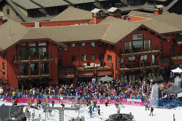 The crowd was massive at Aspen Highlands closing day down at the Ale House on Sunday.