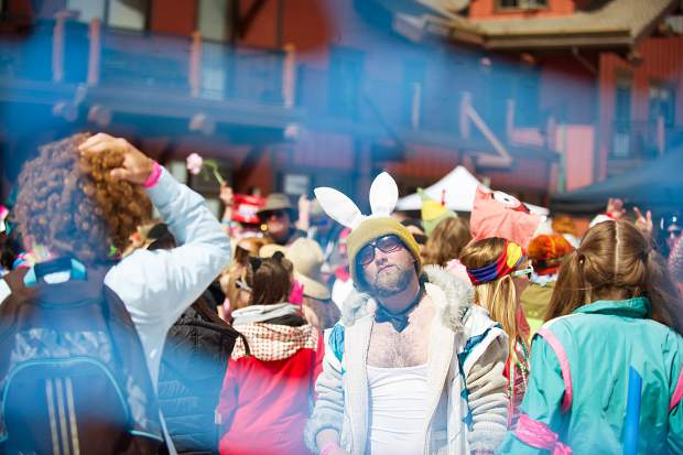 This bunny struck a pose for the camera at the Ale House for Aspen Highlands' closing day on Sunday.