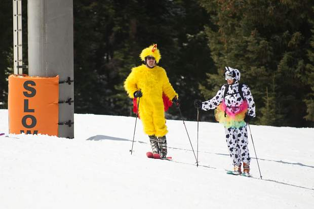 Guests dressed up on the slopes for Aspen Highlands' closing day on Sunday.