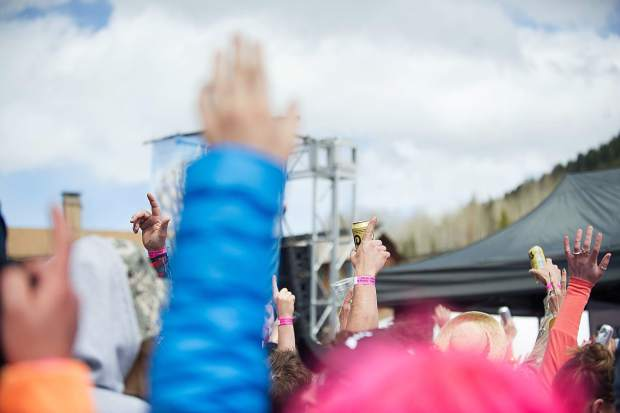 Party fists were in the air for the DJs at the Ale House at Aspen Highlands' closing day on Sunday.