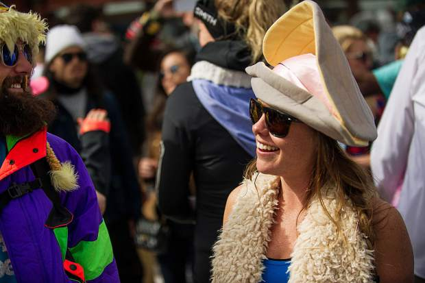 Geneva Vaughn happy as a clam at Aspen Highlands' closing day on Sunday.