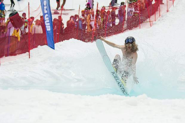 A helmet counted as clothes for the pond skim Sunday at Aspen Highlands for their closing day.