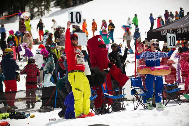 The judges at the Schneetag pond skim for Aspen Highlands closing day on Sunday.
