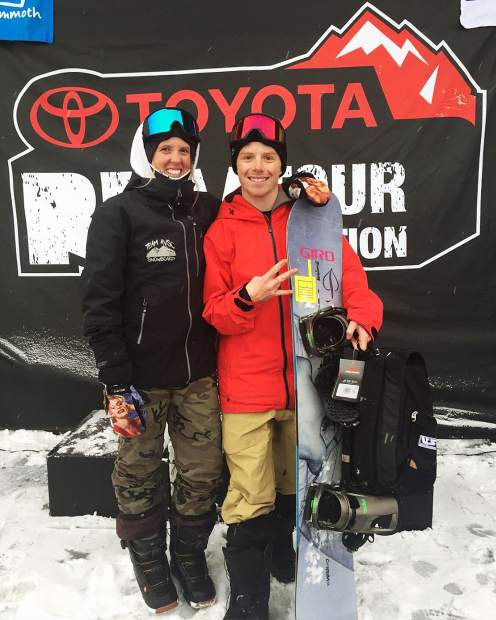 AVSC snowboard coach Nichole Mason with athlete Robert Pettit after his podium earlier this winter in Mammoth.