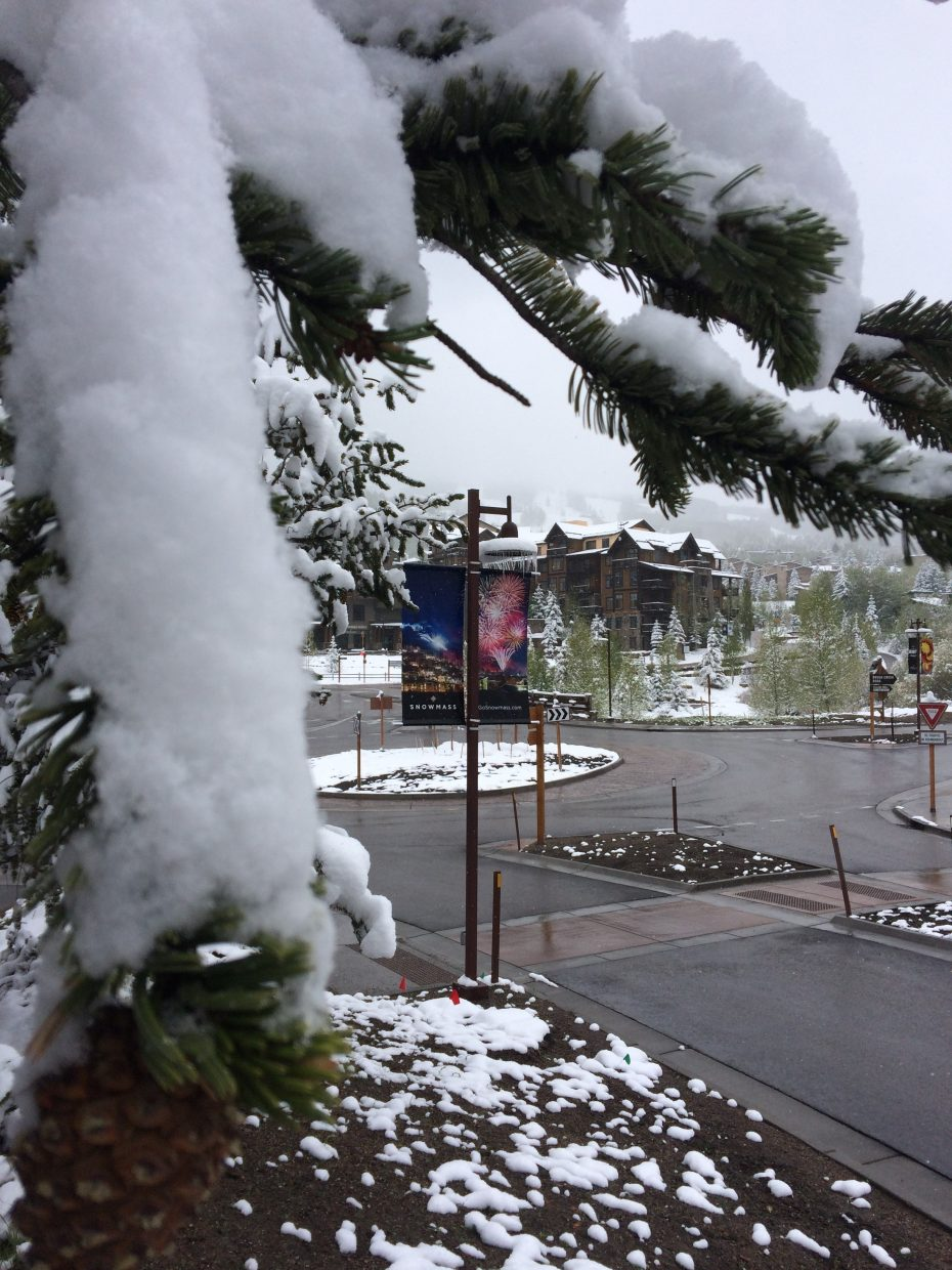 No shortage of snow in Snowmass Thursday.