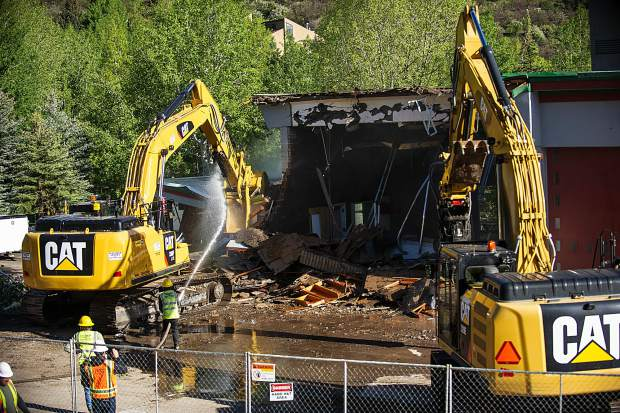 Demolition of the Snowmass Fire Department started early Tuesday morning.