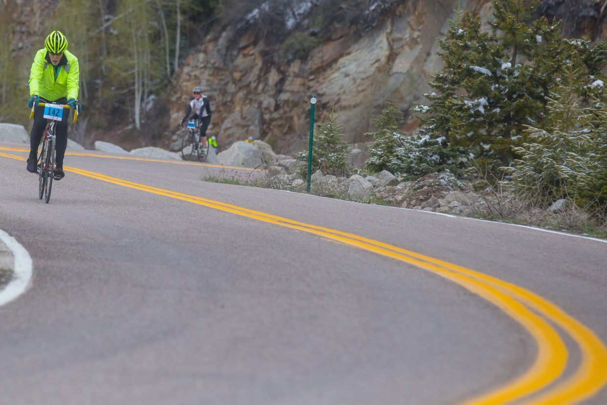 Cyclists make their way up Independence Pass on a cool Saturday morning as part of the Ride for the Pass event, which raises funds for the Independence Pass Foundation.