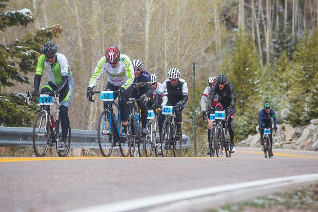 Cyclists make their way up Independence Pass on a cool Saturday morning as part of the Ride for the Pass event, which raises funds for the Independence Pass Foundation. About 250 rider came out in the cold this year.