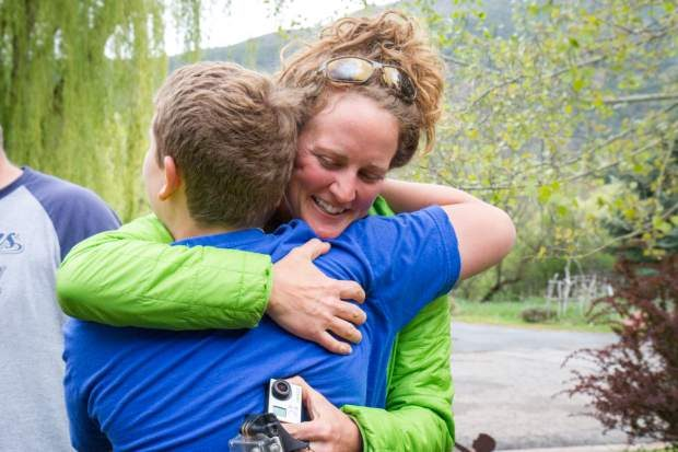 Chelsea Self/Glenwood Springs Post Independent: Hailee Rustad thanks Camden Hassell for finding and reuniting her with her long lost GoPro.