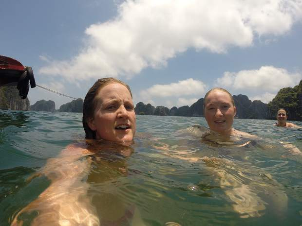 Images from southest Asia taken by Hailee Rustad, left, with her