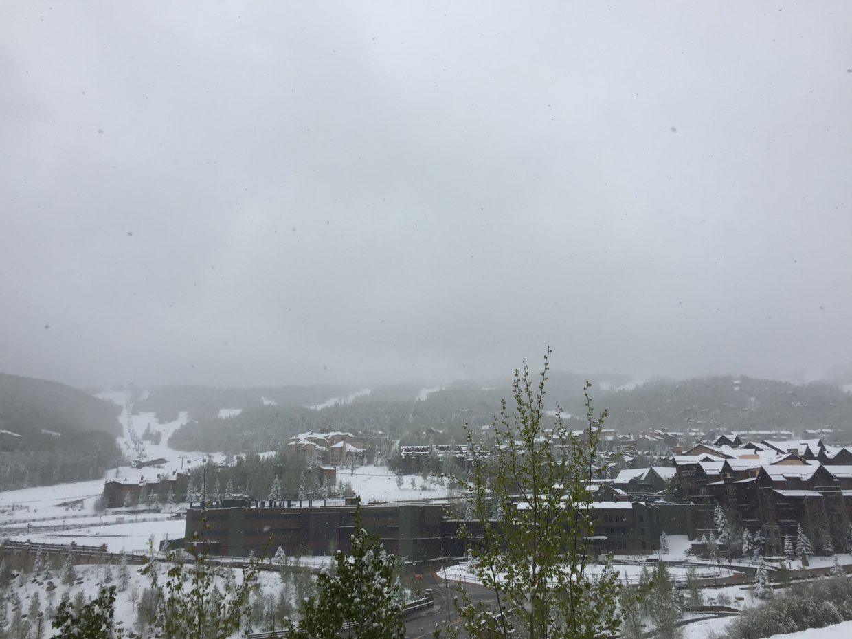 A snowy Snowmass Village from Town Hall Thursday morning.