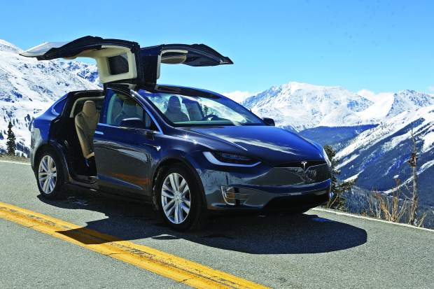 Tesla test drive with Kelly Hayes on Monday, May 22, 2017, in Independence Pass.