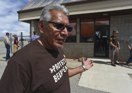 Lee, board member with the Navajo grass-roots Utah Dine Bikeyah expresses his dismay at being denied access to Interior Secretary Ryan Zinke during his trip to San Juan County on Monday.
