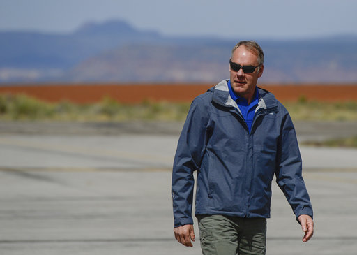 Interior Secretary Ryan Zinke arrives at the Blanding airport on Monday for an aerial tour of the recently designated Bears Ears National Monument in southeastern Utah by President Barack Obama on Dec. 28, 2016. Utah Republicans in Congress are advocating for Trump to jettison Utah's national monument designation.