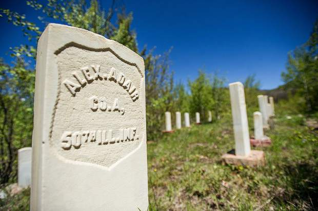 A veteran's gravestone that died in an avalanche in the Ute Cemetery in Aspen.