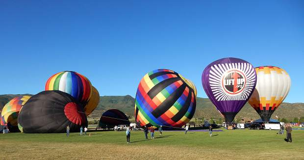 Crews inflate their balloons Sunday morning for the inaugural Lift Off 4 Lift-Up benefit at Crown Mountain Park in El Jebel.