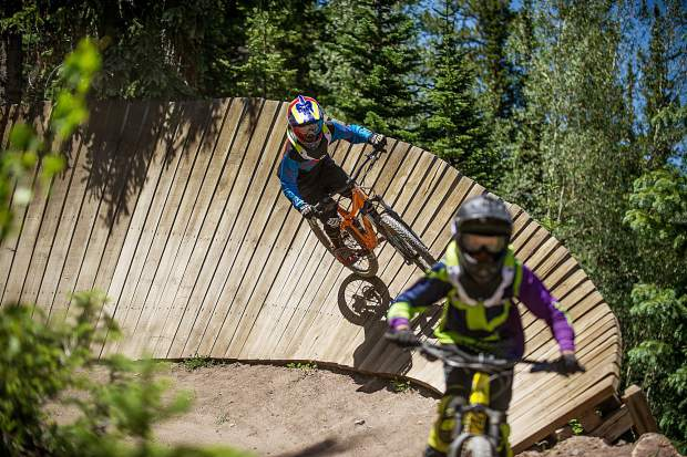Mountain bikers hit the Valhalla Trail on opening day of the Snowmass bike park June 23.