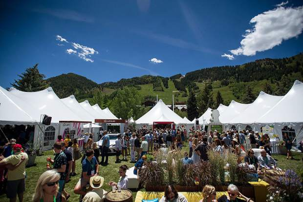 Crowds in between the tents for the first Grand Tasting of this year's Food and Wine Classic in Aspen on Friday.