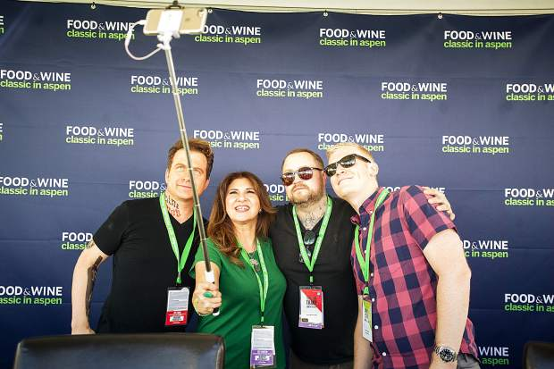 Maria Peniche poses with top chefs for a selfie Friday at Food and Wine.