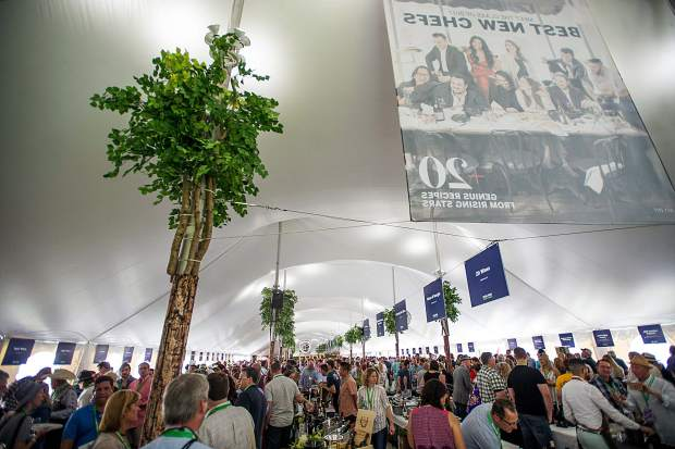 Crowds inside one of the tents for the first Grand Tasting of this year's Food and Wine Classic in Aspen on Friday.