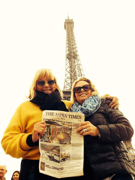 Sisters Claudia Baker and Dana Higbie recently posed in Paris with The Aspen Times.