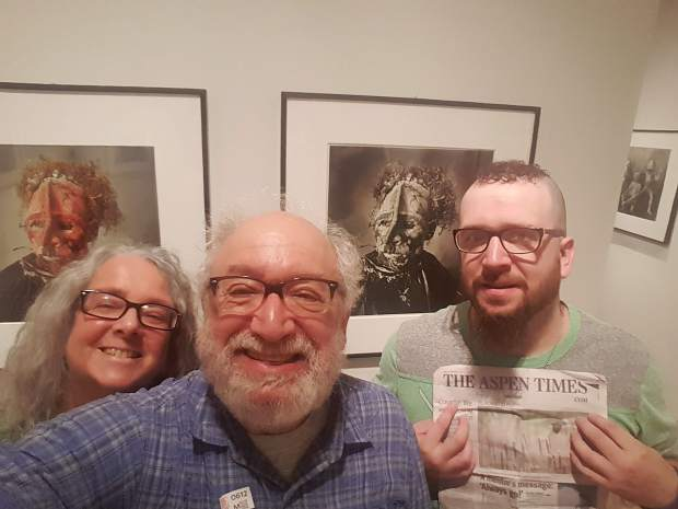 Aspen residents Betty, Howard and David Wallach last week visited the Irving Penn Centennial at the Metropolitan Museum of Art in New York City. The younger Wallach displayed a recent edition of The Aspen Times.