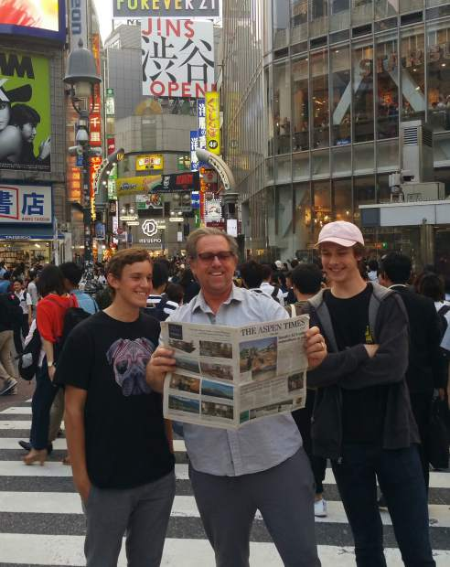 Basalt resident Doug Olson, along with his son Drew and good friend Will Orben, recently posted for a picture with The Aspen Times at Shibuya Crossing in Tokyo, which, according to Doug Olson,