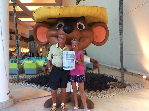 Readers Rick and Nancy Meyer hung out with a large rodent while keeping up with the news from The Aspen Times while in in Akumal, Mexico. Send your