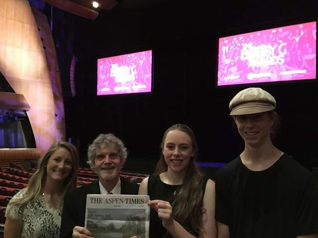 "Aspen High School's production of ""Pippin"" was nominated for two Bobby G Awards, and won the prize for best scenic design on May 25. From left to right, Aspen High School theater teacher Logan Carter, set designers Tom Ward and Hannah Freeman and lighting designer Demian Dettweiler hold up an Aspen Times at the ceremony venue."