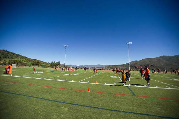 A Broncos' football training camp at Aspen High School with players Kyle Peko and Vontarrius Dora Saturday morning put on by the Aspen Youth Center.