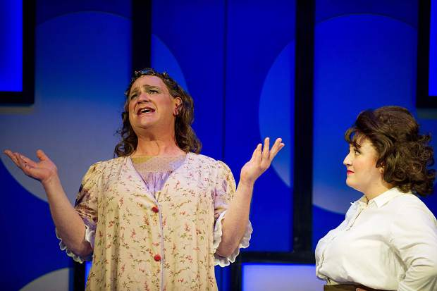 Taylor Hartsfield playing Tracy Turnblad, right, and Kevin Carolan playing Edna Turnblad in Aspen Theatre's production of Hairspray at their dress rehearsal June 23.
