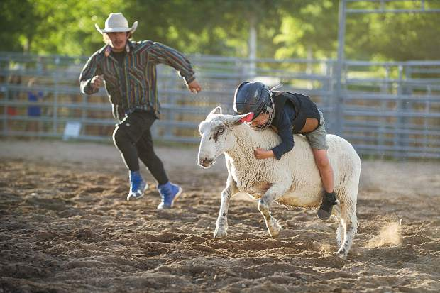 Five-year-old Landon Blasberg holds on tight for second place in the mutton run.